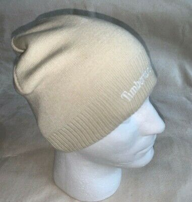 c0733f0c Timberland Embroidered Logo Knit Beanie Hat Beige Tan Cap One Size Fits Most