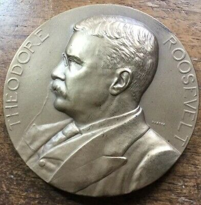 """1905 Theodore Roosevelt INAUGURAL BRONZE 3"""" U.S. Mint MedaL SOLD OUT US MINT"""