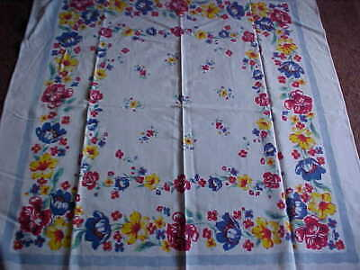Vintage Bright Multi-Colored Flower Tablecloth