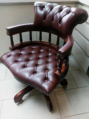 Wondrous Vintage Chesterfield Leather Captains Desk Chair Ox Blood Uwap Interior Chair Design Uwaporg