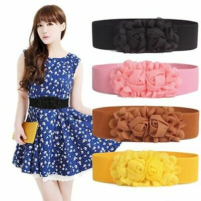 Women Girl Fashion Wide Elastic Waist Belt Solid Color Flower Decor Waistband