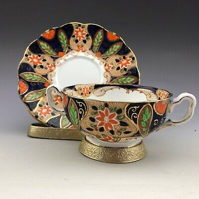 Antique Royal Albert Crown China England Gold Blue Bouillon Cup and Saucer