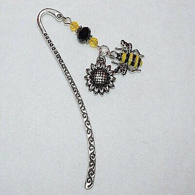 Bumble Honey Bee Flower Black Yellow Crystal Beaded Bookmark Friend Present Gift