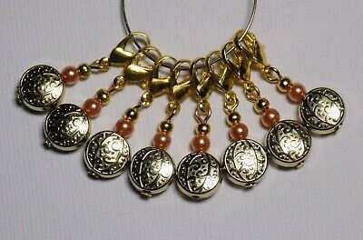 8 x Gold Coin Bead Stitch Markers - CLAWS