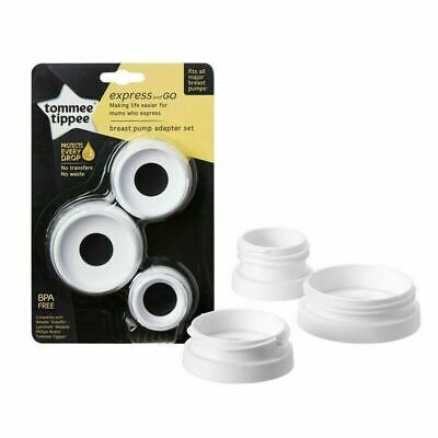 Tommee Tippee Express & Go Breast Pump Adapators 3Pk│Compact & Lightweight│New