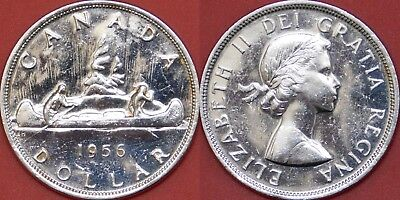 Brilliant Uncirculated 1956 Canada Silver 1 Dollar From Mint's Roll
