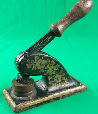 ANTIQUE Hand Painted CAST IRON Embossing Press Rochdale Lawn Tennis Ground Ltd