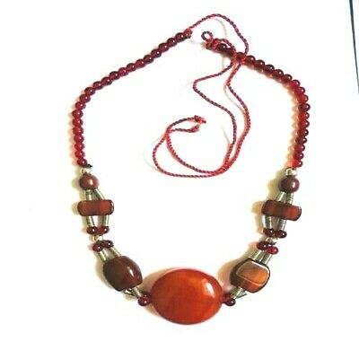 Yemenite Antique Agate Necklace  Beads Red Old Yemeni Aqeeq  Beautiful Natural