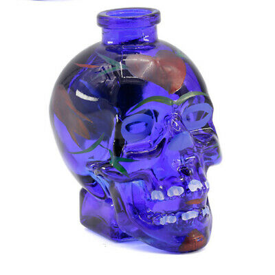 "Painted Glass Skull Smoking Pipe, 3.4"" Water Hookah Bubbler Pipe"