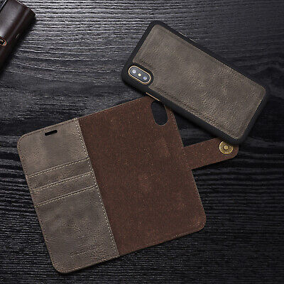 For iPhone XS Max XR XS Case Removable Leather Flip Magnetic Wallet Stand Cover