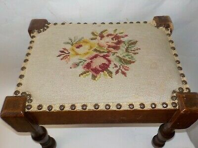 Antique Oak Wood & Needlepoint Seat Cover Footstool Stool