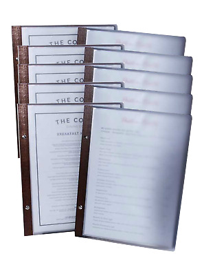 BULK BUY SET 10 TIMBER BACK EKO A4 Restaurant Menu Folder with 10 Pockets