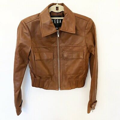 Veda Saddle Brown Lamb Leather Jacket Size P New $998