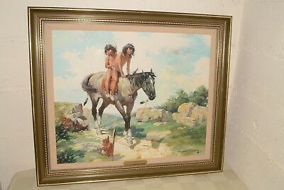 Vtg MAHER MARCOS Original FINE ART Painting OIL ON CANVAS Native American Indian