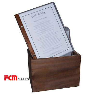 Set of 15 All walnut A4 Restaurant Menu Folder with 10 Pockets Free Storage box