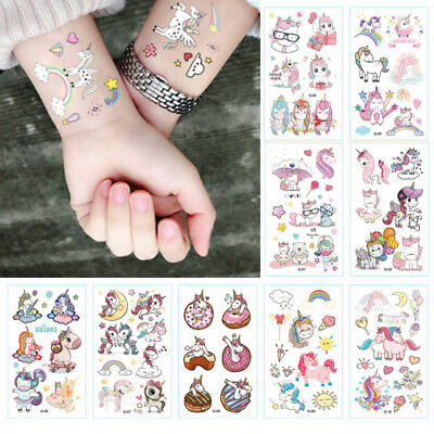 10SHEET Kids Unicorn Temporary Tattoos Sticker Party Bag Fillers Boys Girls