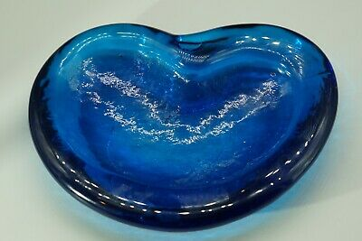 Vintage Free Form Blenko Royal Blue Art Glass Heart Shape Candy Dish Ash Tray