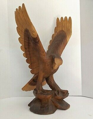VTG Big 24 Inch Eagle Hand Carved Wood Sculpture Folk Art Detailed Cabin Decor