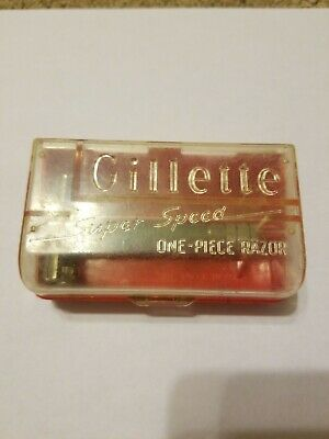 Vintage GILLETTE SUPER SPEED One-Piece Safety Razor in original case