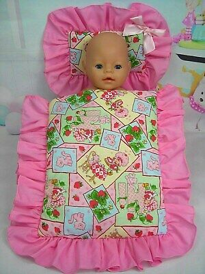 Dolls~Strawberry Shortcake~ Pillow & Quilt Cover Set~For  Bed~Cot~Pram~Cradle