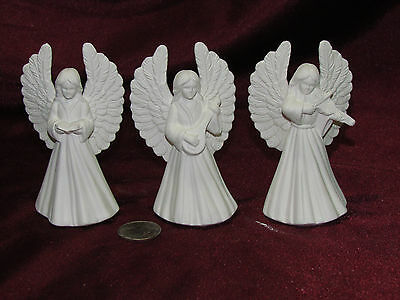 Ceramic Bisque Set of 3 Small Angels w/ Instruments Ready to Paint U-Paint