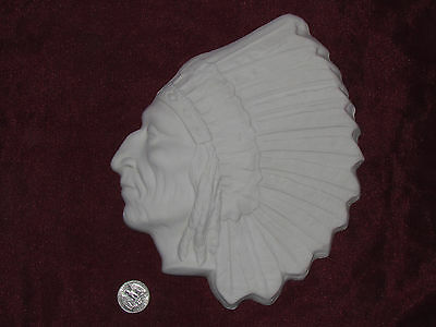 Ceramic Bisque Native American Indian Chief Wall Hanging U Paint Ready to Paint
