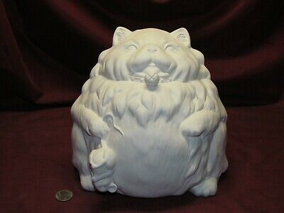 Ceramic Bisque U-Paint Fatty Catty with Mouse Ready to Paint Fat Cat Chonk