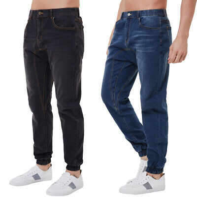 Mens Slim Denim Pants Elastic Waist Casual Long Straight Trousers Skinny Jeans