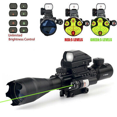 4-16x50 Tactical Rifle Scope w/ Green (RED) Laser & Holographic Reflex Dot Sight