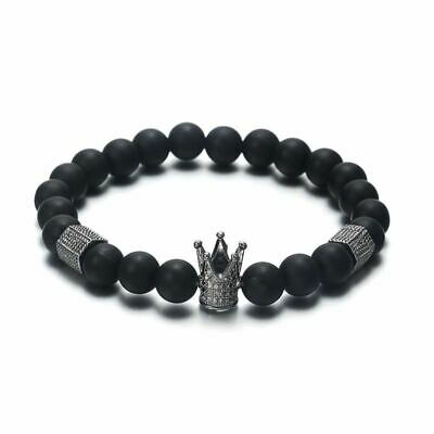 Men Classic Black Color Round Beads Personalized Bracelets