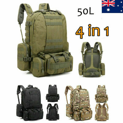 50L Outdoor Hiking Camping Bag Army Military Tactical Rucksack Backpack Trekking
