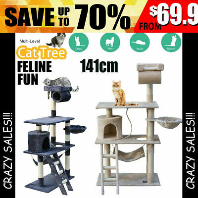 Cat Tree Trees Scratching Post Scratcher Tower Condo House Furniture Wood 1.4M