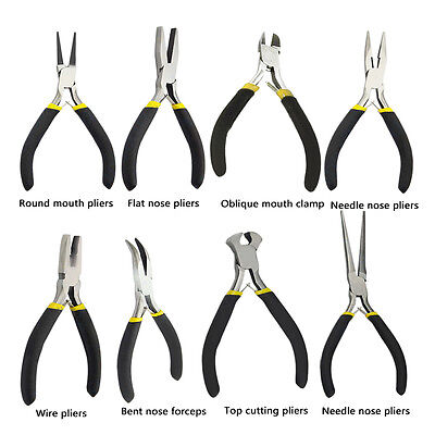 New Jewellery Making Beading Mini Pliers Tools Kit Set Round Flat Long Nose Fd