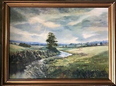 "Oil Painting ""Norton From The Bridge"" In Damaged Frame. R. Oliver. 24.5"" X 18.5"""