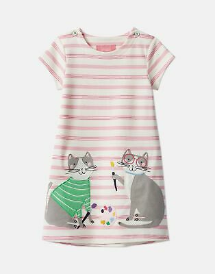 Joules Girls Kaye Applique Dress Years in PINK STRIPE DOUBLE CATS