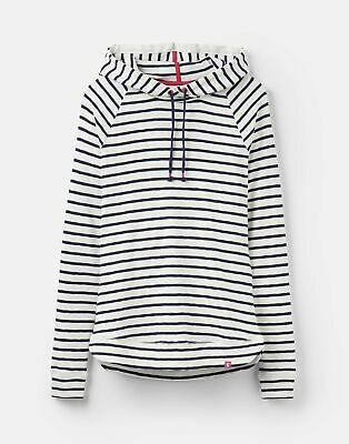 Joules 207511 Fitted Hooded Pull Over Sweatshirt in CREAM NAVY STRIPE