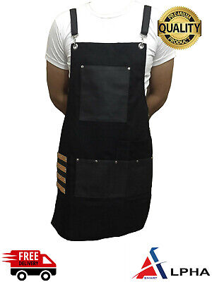 Professional Leather Apron Women Men Barber Waterproof Aprons BLACK New