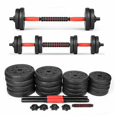 2 IN 1 Fitness 40Kg Dumbells Pair of Weights Barbell/Dumbbell Body Building Set