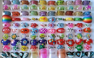 Bulk Lot of 20 Lucite Party Rings MIXED Adults + Kids Assorted Sizes Colours