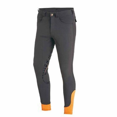 Schockemohle Leo Grip Mens Horse Riding Breeches Silicone Grey Orange
