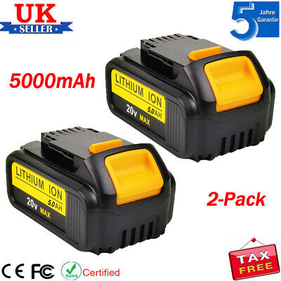 2 x for DEWALT DCB184 18V XR 5.0AH Battery Lithium Ion Li-Ion DCB182 DCD780 NEW