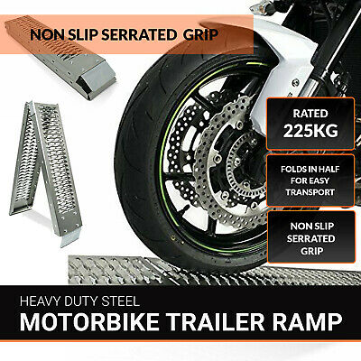 1 x Folding Aluminium Motorcycle / Bike / Motorbike / MX Loading Ramp 1.8m