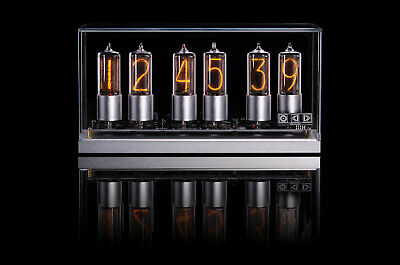 ZIN18 New Nixie Tube Clock Silver Aluminium Base Glass Cover WIFI Android/Iphone
