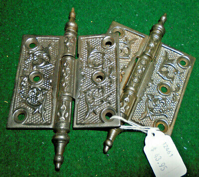 "PAIR of VINTAGE EASTLAKE HINGES 3 1/2"" X 3 1/2""  STEEPLE TOP -  NICE (12461)"