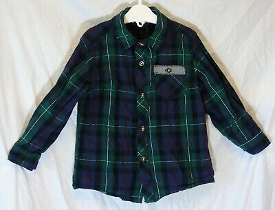 Boys MRP Green Blue Red Check Long Sleeve Smart Casual Shirt Age 3-4 Years