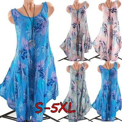 Women's O Neck Sleeveless Leaves Print Irregular Loose Top Shirt Dress(S-5XL) DA