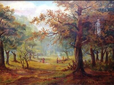 Antique Oil Painting People A Forest Glade Near Chingford F.C.Remmett Landscape
