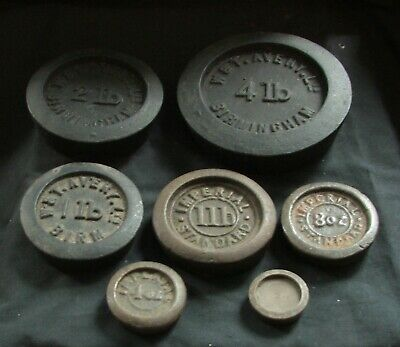 6 Imperial Scale weights 4Lb graduated weights, W&T Avery, Imperial standard