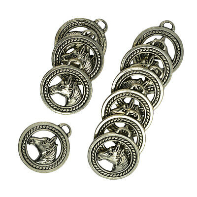 40pcs Unicorn Horse Tibetan Silver Charms Pendant For Jewelry Making DIY 24*33mm
