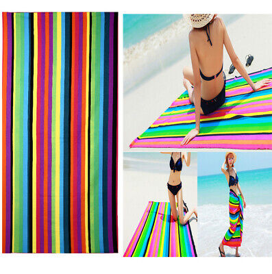 70×150cm Striped Extra Large Microfibre Lightweight Beach Towel Gym Spa Swimming